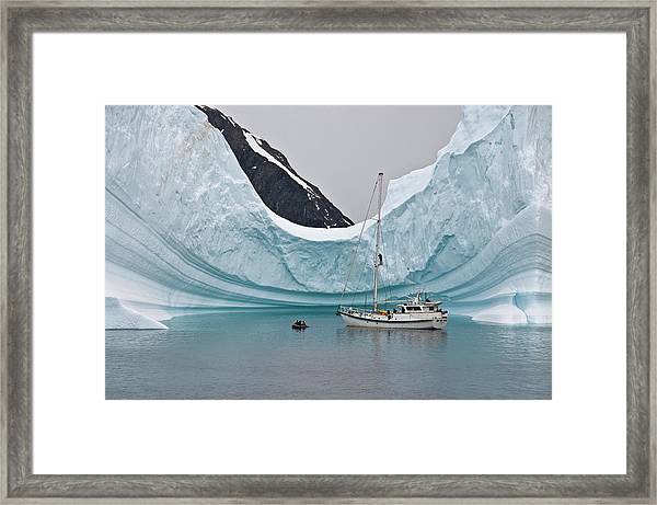 Sailing Yacht And Iceberg, Errera Framed Print