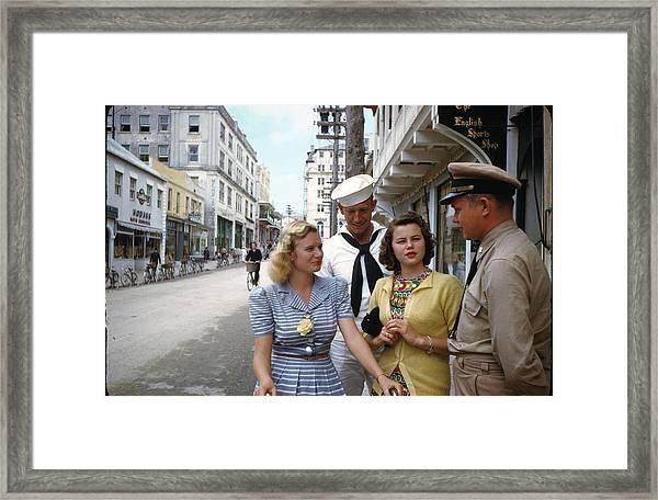 Sailors And Marines On Shore Leave 1943 Framed Print