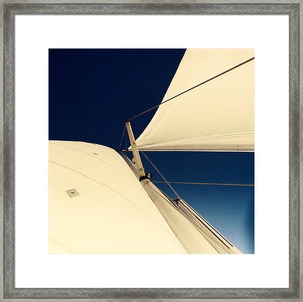 Sails And Mast On Sailboat, Low Angle Framed Print
