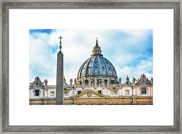 Saint Peter's Basilica Obelisk Framed Print by William Perry