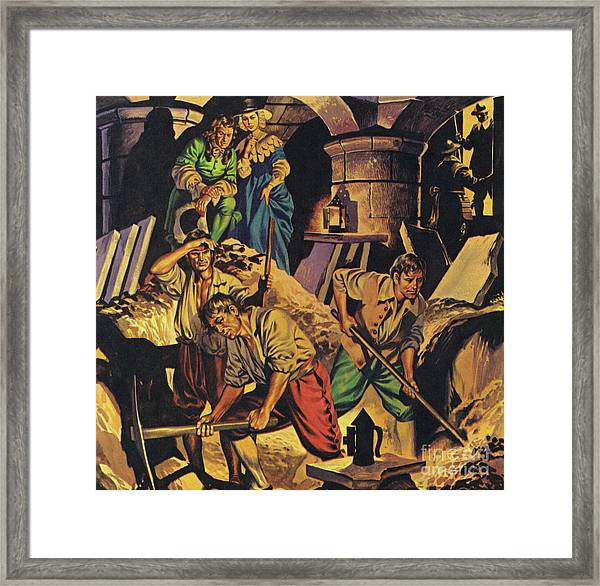 Samuel Pepys Searching For A Hoard Of Money Supposedly Hidden In The Tower Of London Framed Print