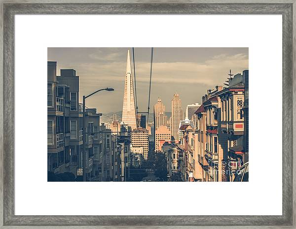 San Francisco Cityscape At Sunset With Framed Print