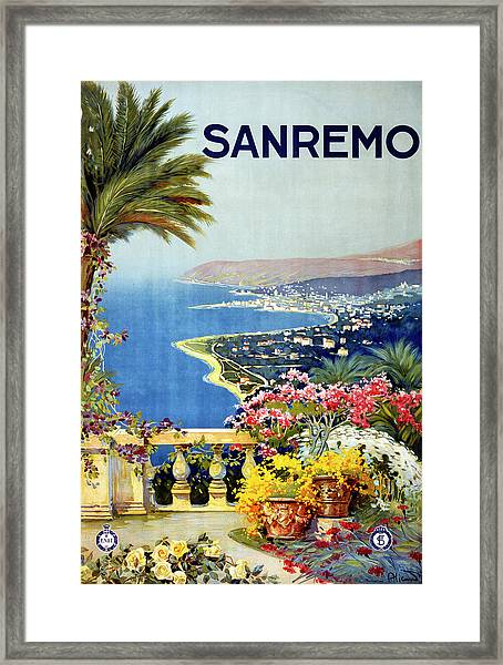 San Remo Travel Poster Framed Print