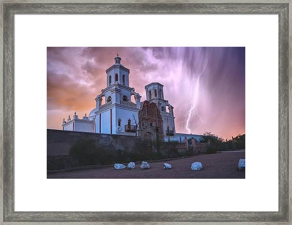 San Xavier Mission Lightning Framed Print