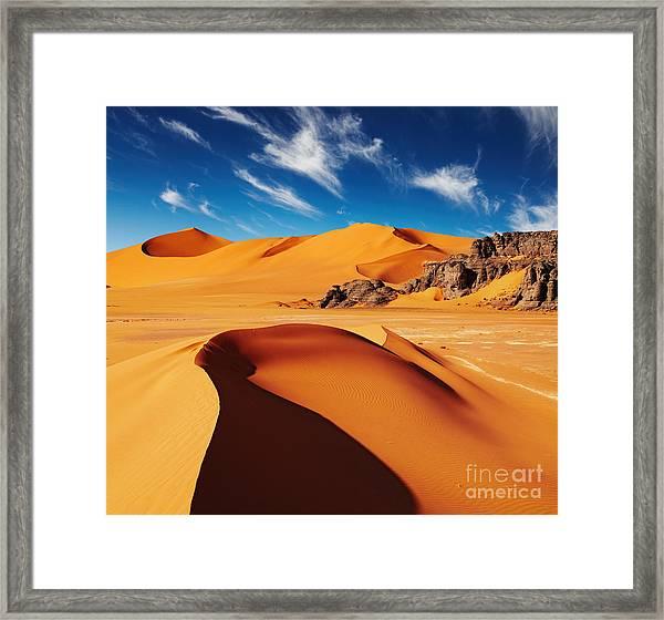Sand Dunes And Rocks, Sahara Desert Framed Print