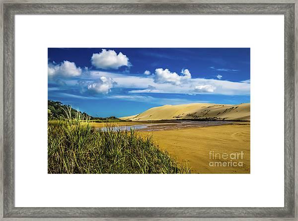 90 Miles Beach, New Zealand Framed Print