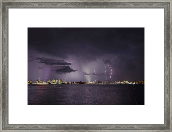 Sand Key Bridge Lightning Framed Print