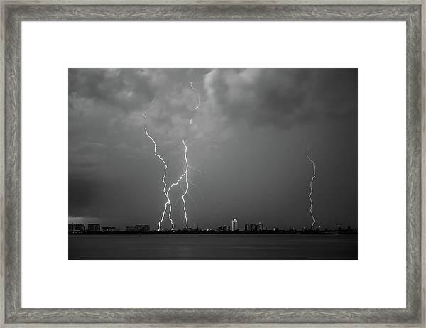 Sand Key Lightning Framed Print
