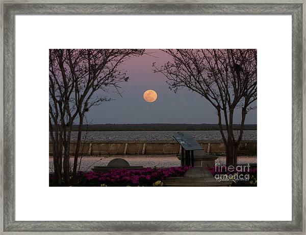 Sanford Riverwalk-moonrise-9395 Framed Print