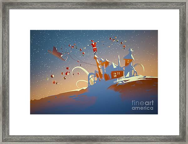 Santa Claus Balancing On Fantasy Framed Print