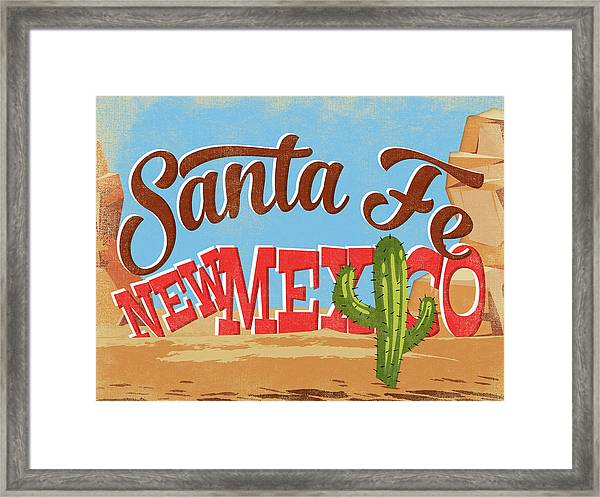Santa Fe New Mexico Cartoon Desert Framed Print