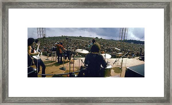 Santana Onstage At Woodstock Framed Print by Bill Eppridge