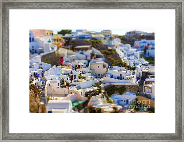 Santorini Island, Greece, Tilt-shift Framed Print