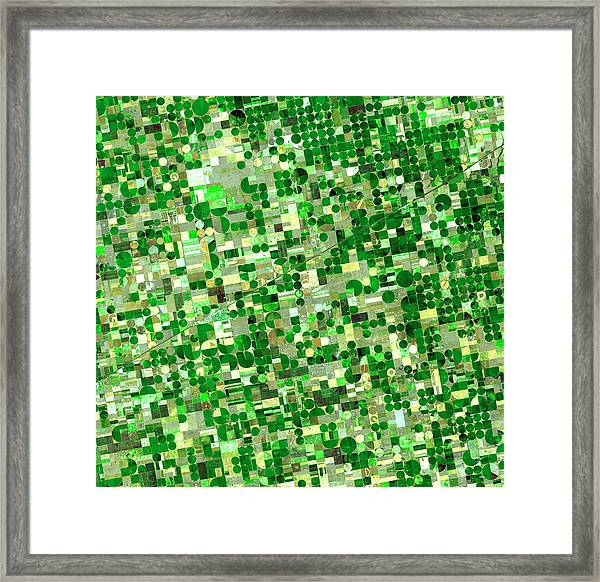 Satellite View Of Crop Circles In Framed Print by Education Images