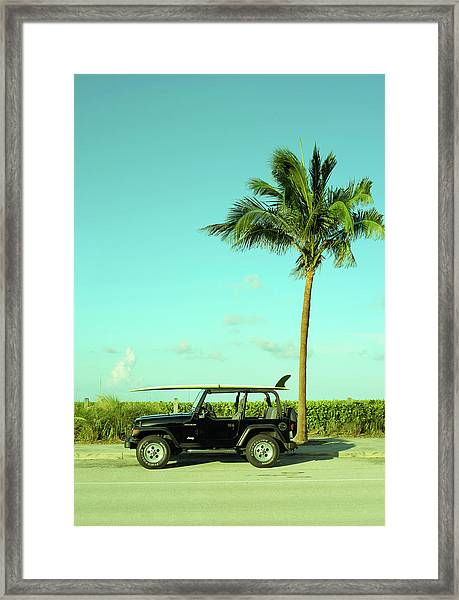 Saturday Surfer Jeep Framed Print