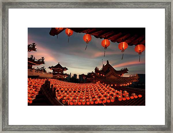 Scene Of Chinese Temple With Lanterns Framed Print by Collinschin