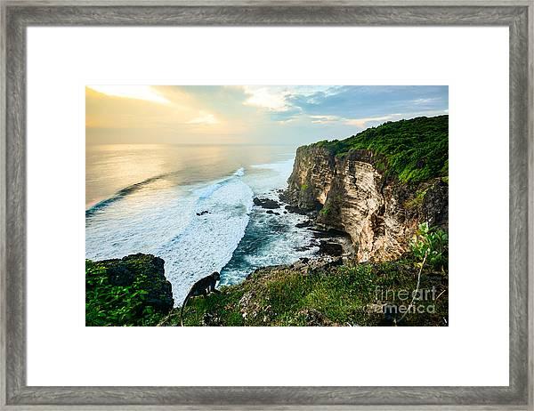 Scenic Coastal Landscape Of High Cliff Framed Print