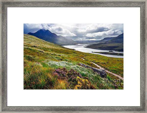 Scenic View Of The Lake And Mountains Framed Print