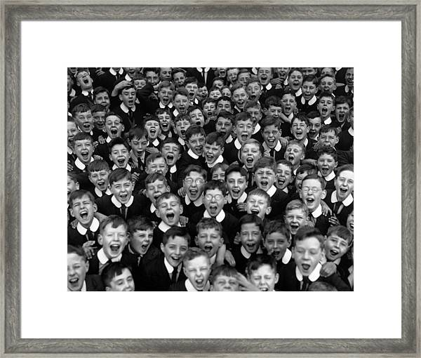 Schoolboys Cheer Framed Print