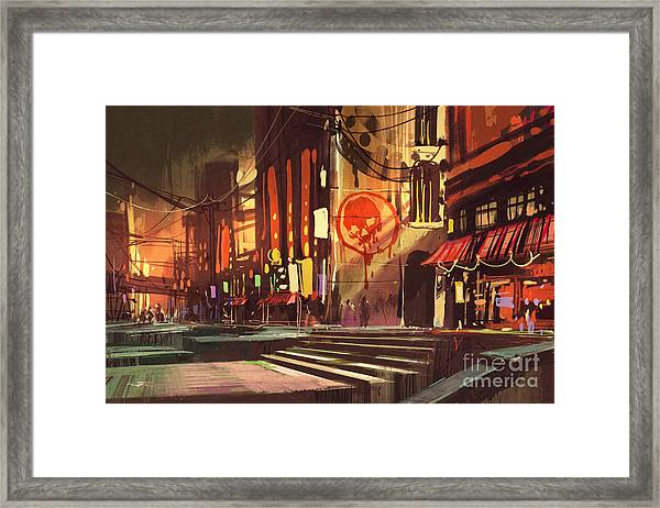Sci-fi Scene Of Shopping Framed Print by Tithi Luadthong