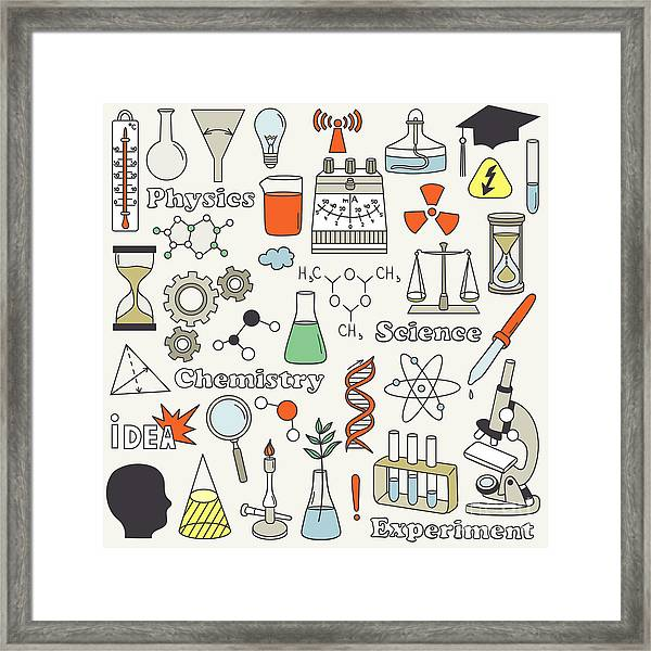Science Icon Set Hand Drawn. Doodle Framed Print
