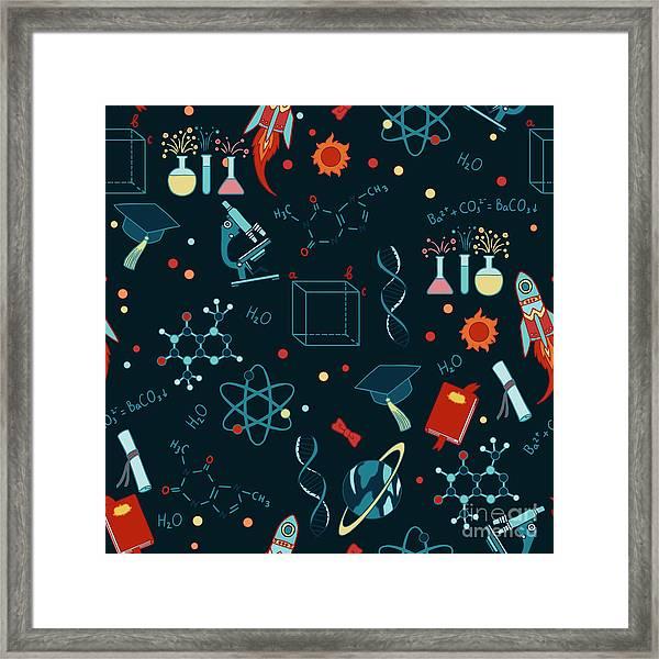 Science Stuff Vector Seamless Pattern Framed Print