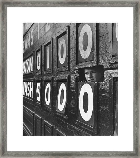 Scoreboard Peep Framed Print