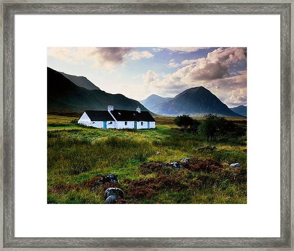 Scotland,glencoe,black Rock Cottage Framed Print by Charlie Waite