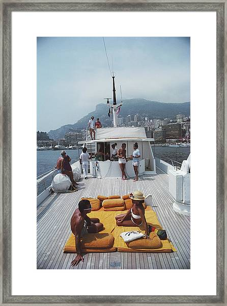 Scottis Yacht Framed Print by Slim Aarons
