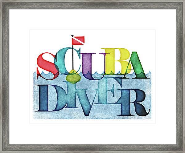 Scuba Diver Colorful Framed Print