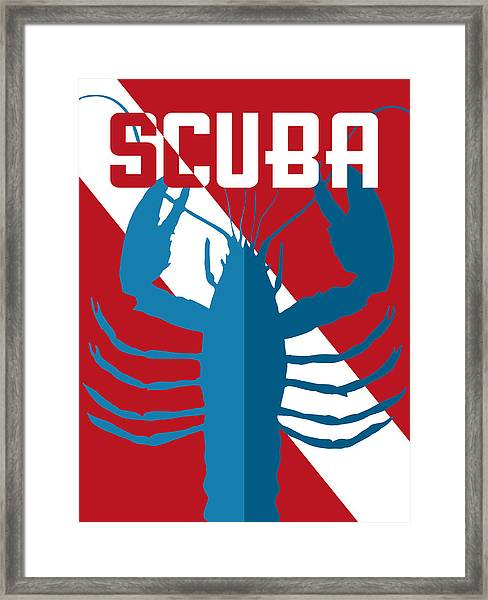 Scuba Lobster Framed Print