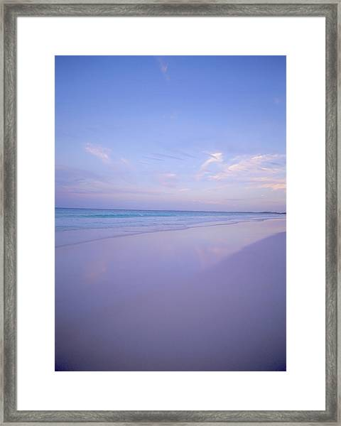 Sea And Sand At Sunset At Pink Sands Framed Print