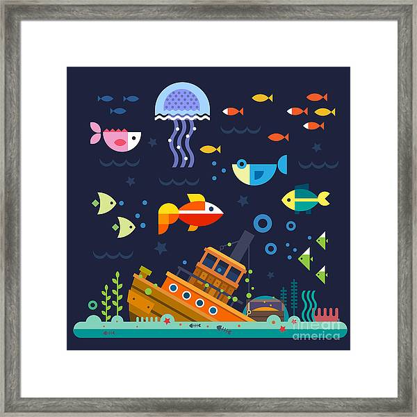 Sea Life. Underwater World. Fish Framed Print