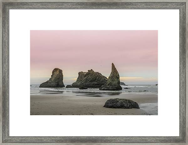 Framed Print featuring the photograph Sea Stack And Spires Sunset 3, Bandon Beach, Oregon by Dawn Richards