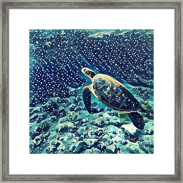 Sea Turtle Swimming Underwater. Digital Framed Print