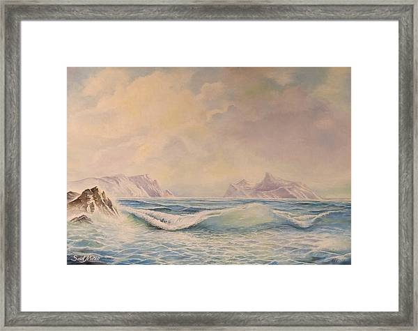 Framed Print featuring the painting Sea Waves by Said Marie