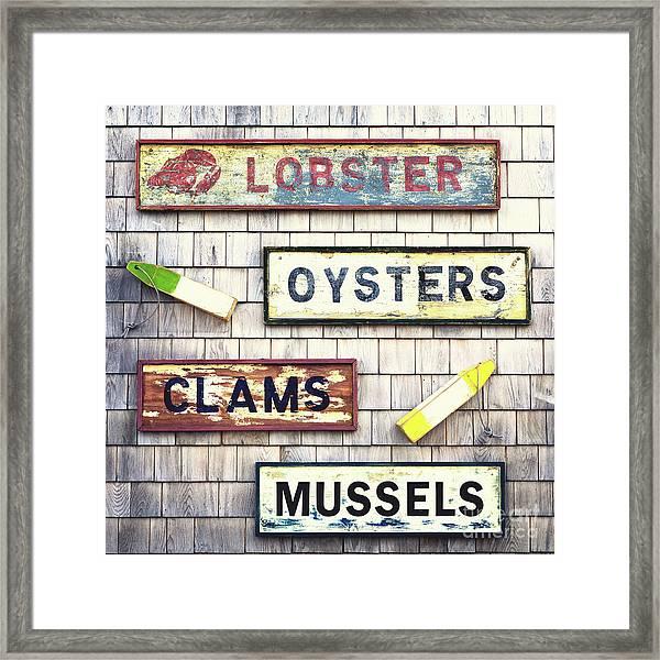 Seafood Signs Framed Print