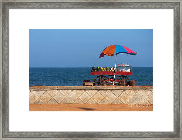 Seafront View Of Vendors Cart With Framed Print
