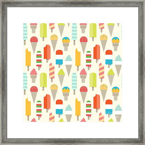 Seamless Colorful Ice Cream Pattern Framed Print