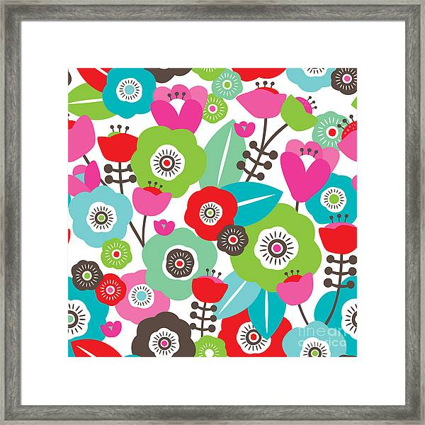 Seamless Colorful Spring Flowers Framed Print