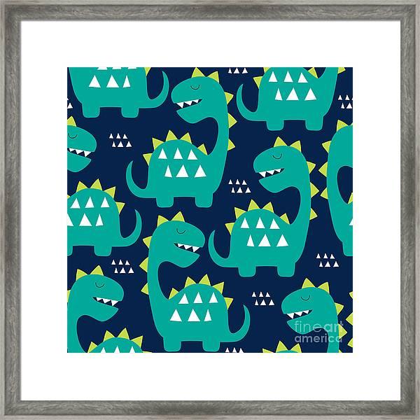 Seamless Dinosaur Pattern Vector Framed Print