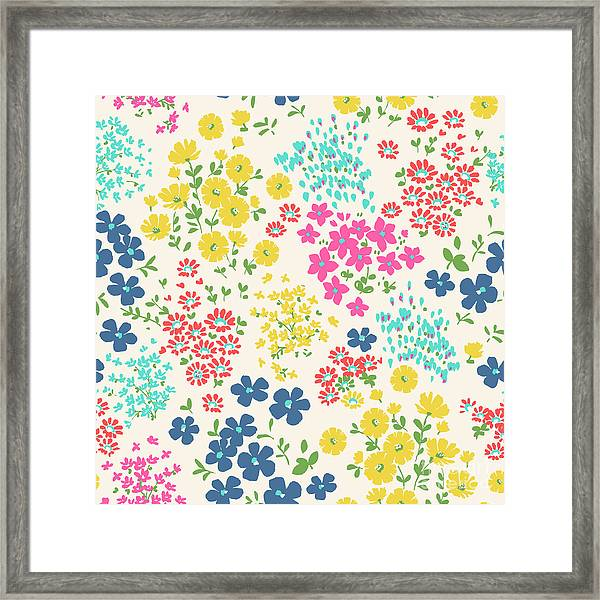 Seamless Ditsy Floral Pattern In Vector Framed Print