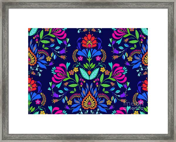 Seamless Floral Folk Pattern. Slavic Framed Print
