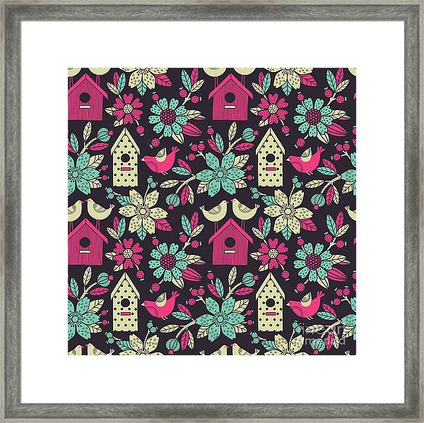 Seamless Floral Pattern With  Birdhouses Framed Print by Tets