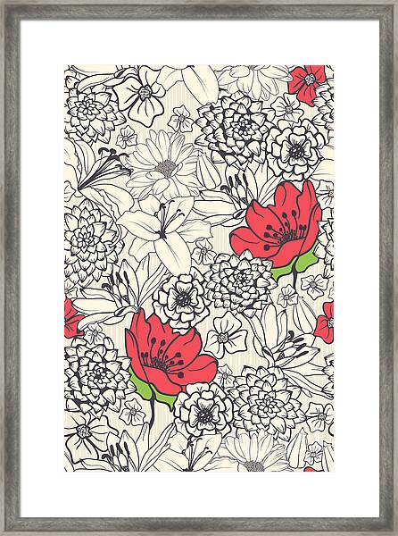 Seamless Floral Pattern With Red Framed Print