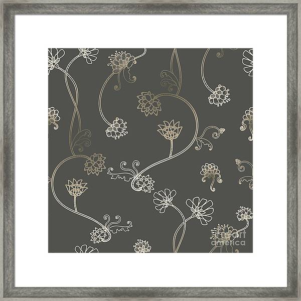 Seamless Flower, Floral, Abstract Framed Print