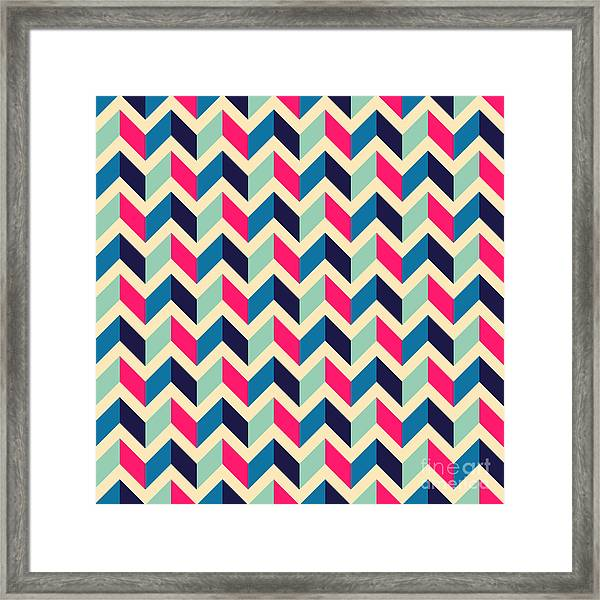 Seamless Geometric Pattern With Framed Print
