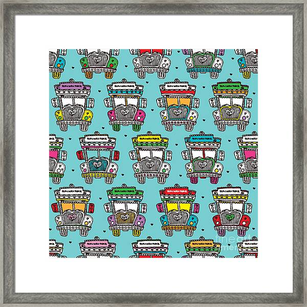 Seamless Icon Of India Road Colorful Framed Print