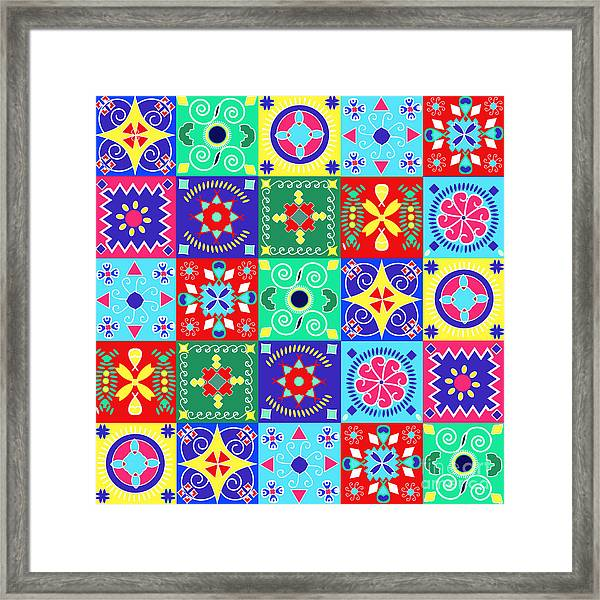 Seamless Pattern  Holiday Cheerful Framed Print