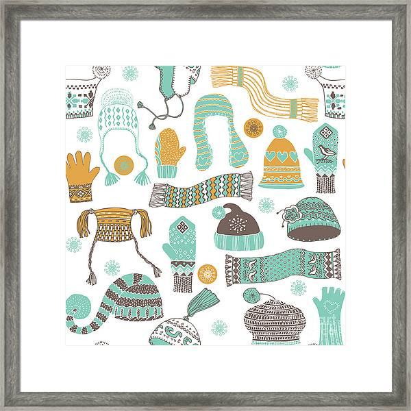 Seamless Pattern Of Winter Woollies Framed Print by Lavandaart